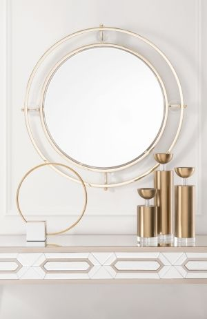 gold round mirror with acrylic for spring interior design trends 2020