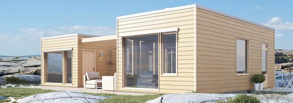 Moderne hytte av tre ved fjæra, bygg moderne hytte i Haugesund og omegn