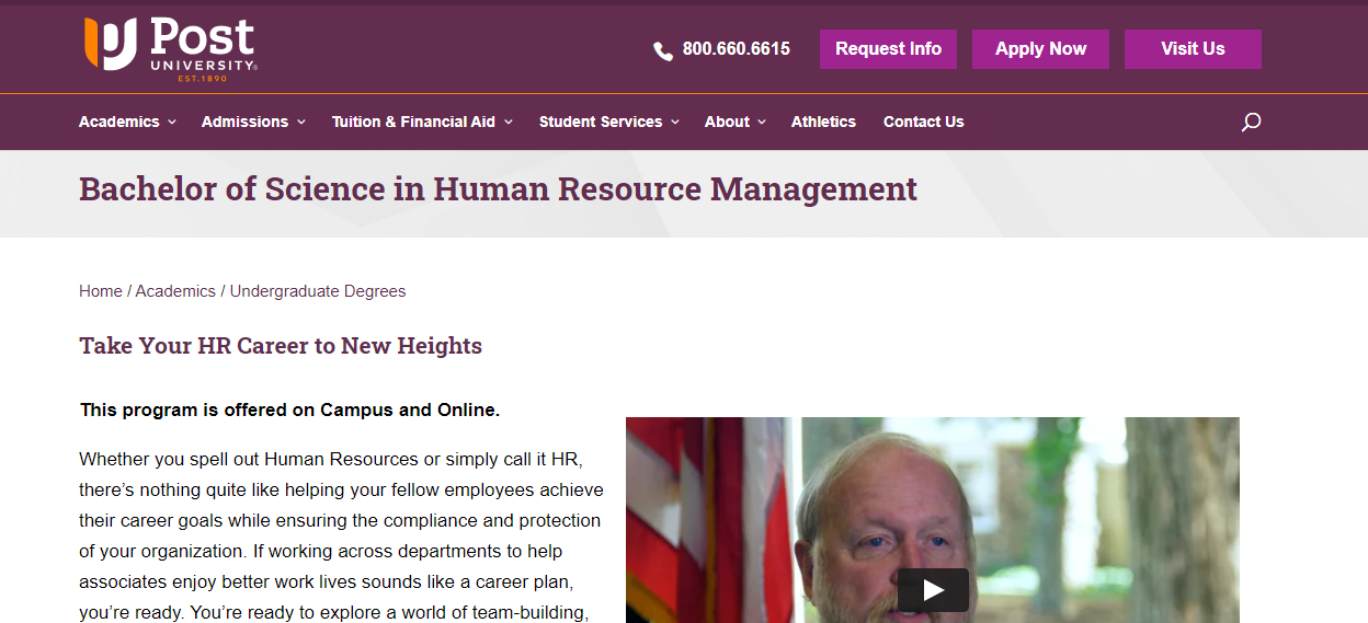 Bachelor of Science in Human Resource Management [Post University