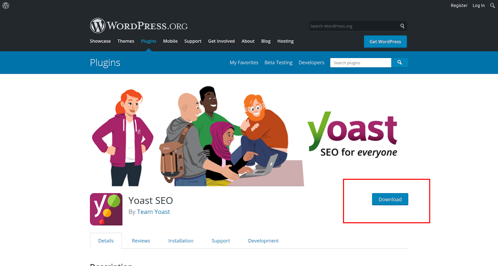 yoast wordpress seo plugin download button