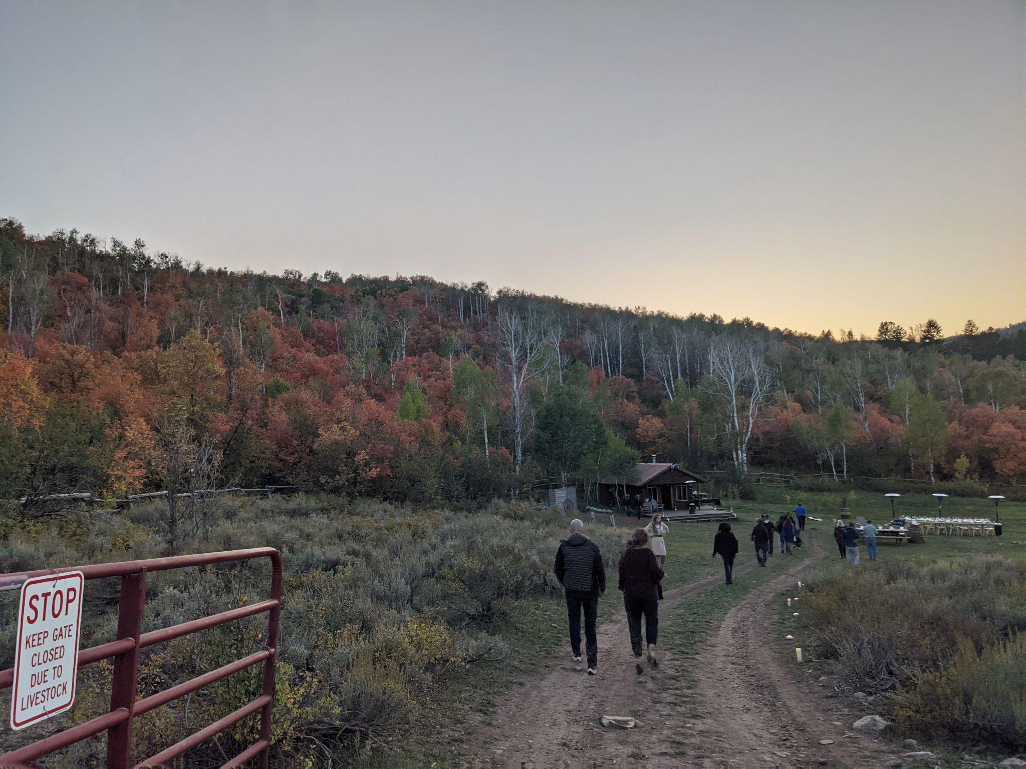 Group of people walking down a path in a field_Light_Flok