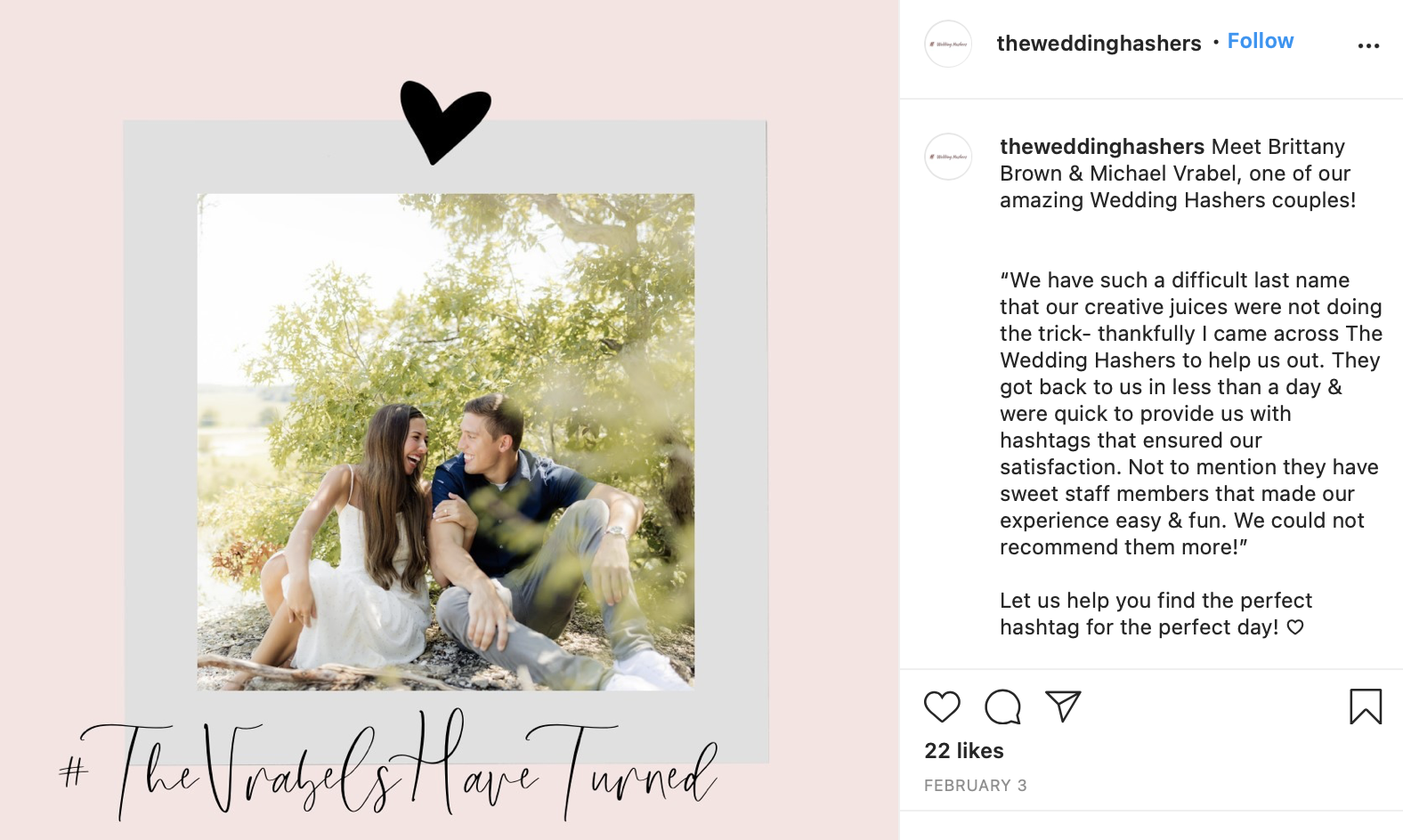 a couple using their wedding hashtag