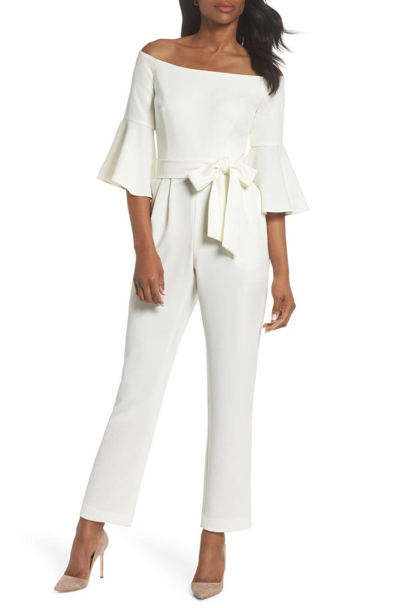 ELIZA J Off the Shoulder Bell Sleeve Slim Leg Jumpsuit, Main, color, IVORY