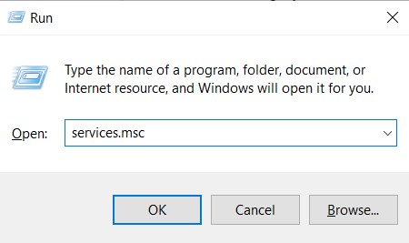 Run command for Services window