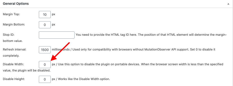 Disable fixed sidebar WordPress on mobiles