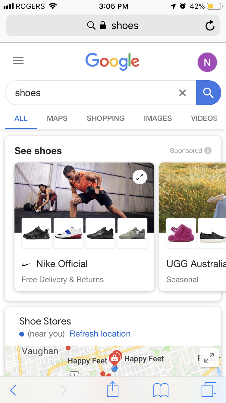 "A Showcase Shopping ad for a search for ""shoes""."