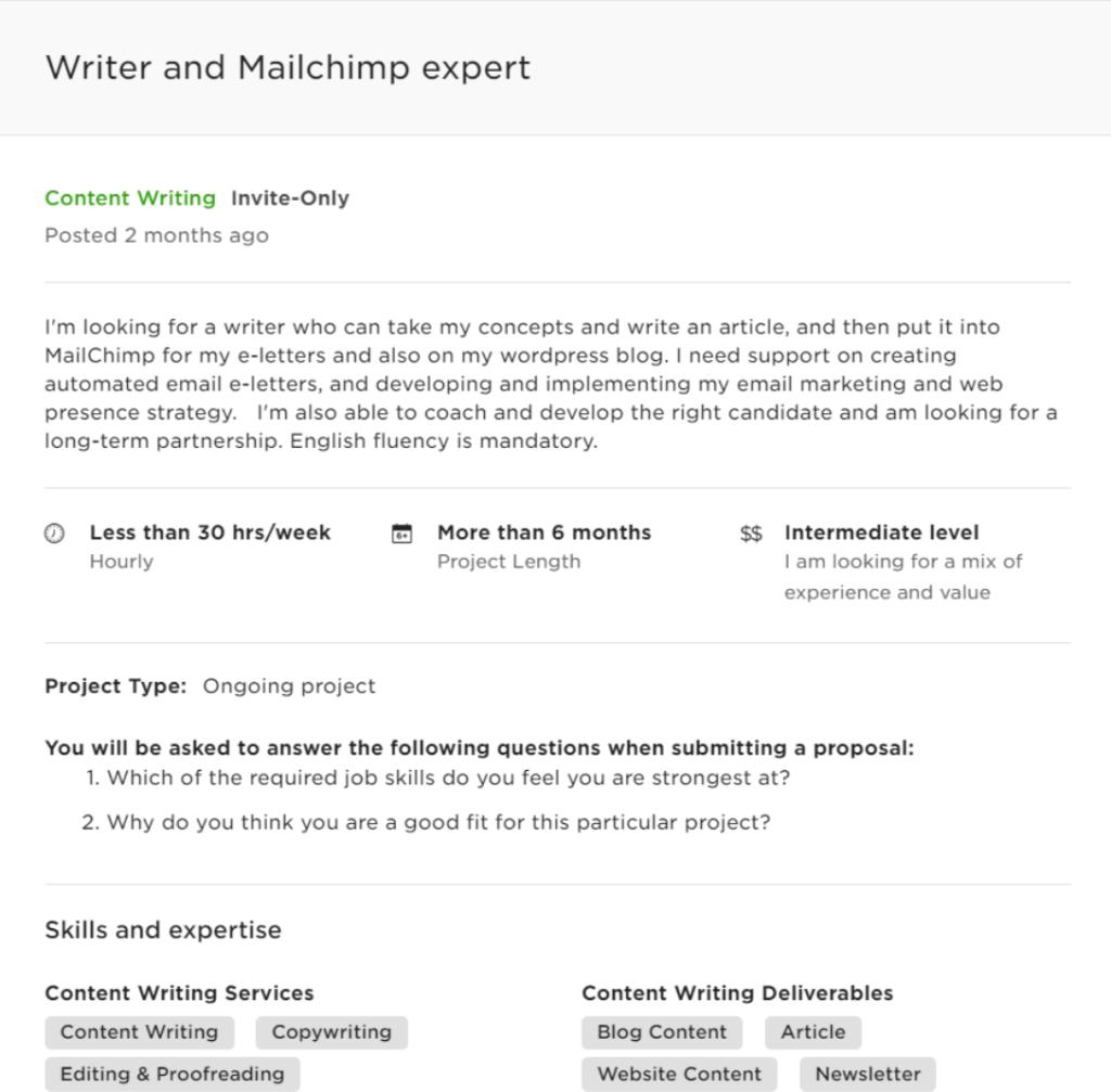 upwork proposal sample - freelance copywriting remote job