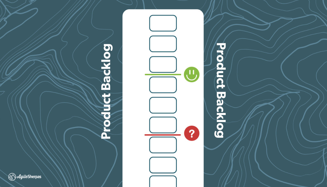 Drawing lines across the backlog to visualize confidence of processing items to a specific point.