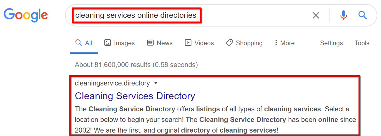 google search for local online directories