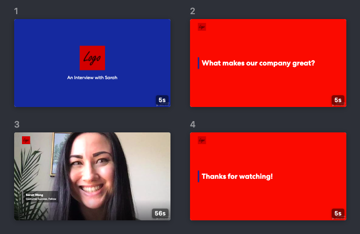 Vocal Video automatically adds account branding to your videos.