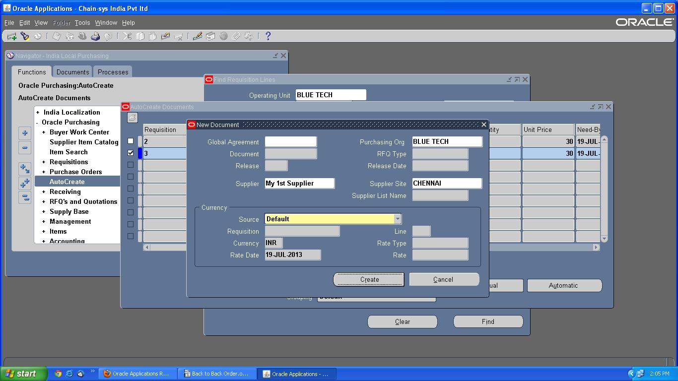 Oracle R12 Order Management Back to Back Order - Oracle apps