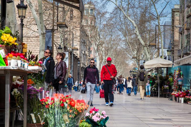 La Rambla Pedestrian Street In Barcelona