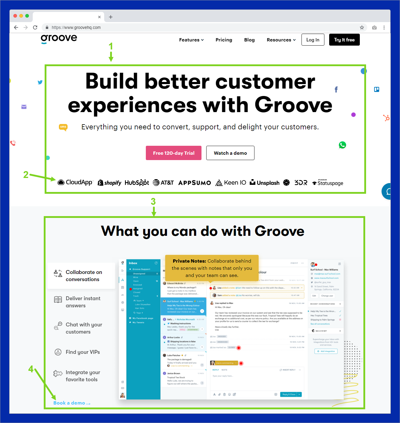 groovehq homepage copywriting