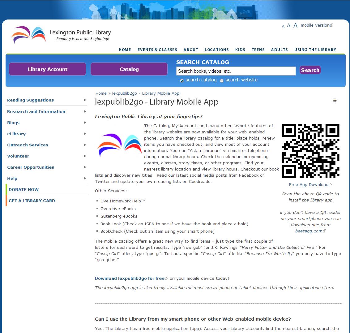 Lexington Public Library Mobile App Promotion Webpage
