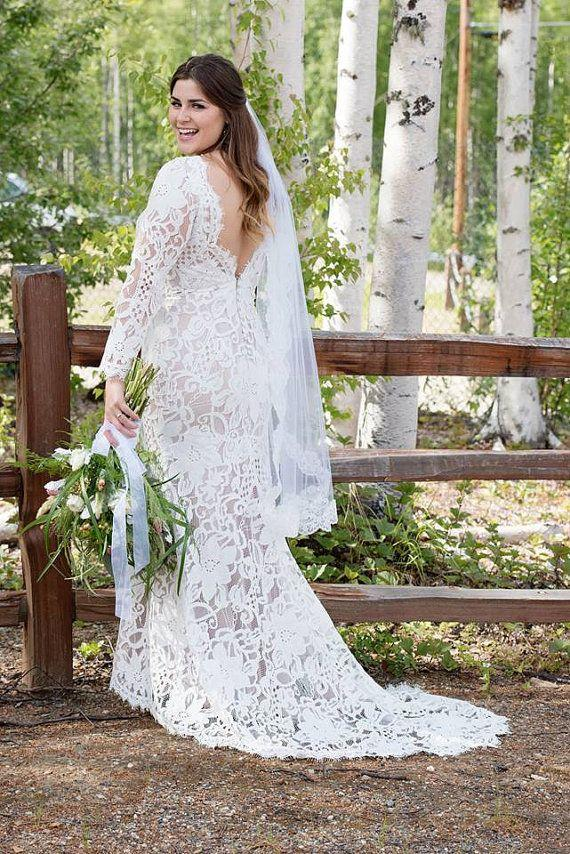 Image result for boho wedding dress with lace for plus size