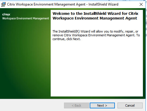 Machine generated alternative text: Citrix Workspace Environment Management Agent - InstallShieId Wizard  Welcome to the InstallShield Wizard for Citrix  Workspace Environment Management Agent  Wo rkspace  The InstallShieId(R) Wzard will allon pu to modify, repair, or  remove Citrix Workspace Environment Management Agent. To  continue, dick Next.  Next >