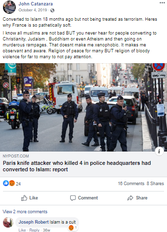 Facebook post by Catanzara with link to a report on  a Paris knife attacker