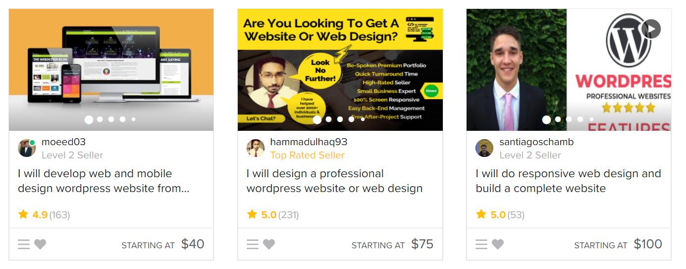 fiverr amateur web designers