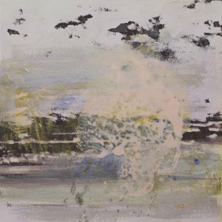 Morning misty landscape 21x21cm. mixed media on paper / Сутрешен мъглив пейзаж 21х21см. смесена техника на хартия