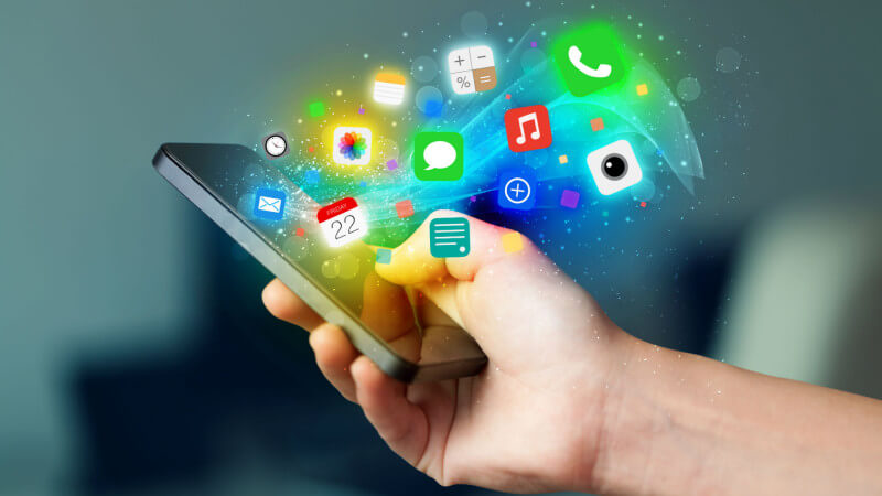 Mobile application icons overflowing the smartphone screen