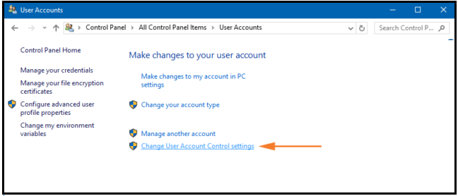 Disable UAC (User Account Control) on Windows 10 through User Account.