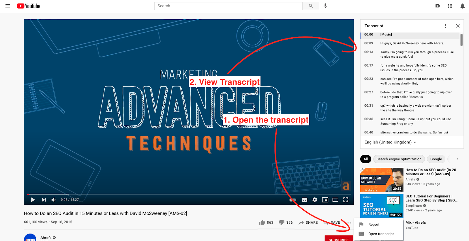 How to find a video transcript on YouTube
