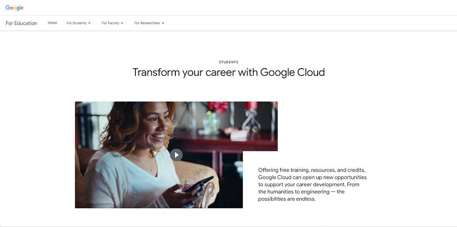 Google Cloud Platform cung cấp dịch vụ lưu trữ web đặc biệt cho sinh viên với chiết khấu, tín dụng và công cụ