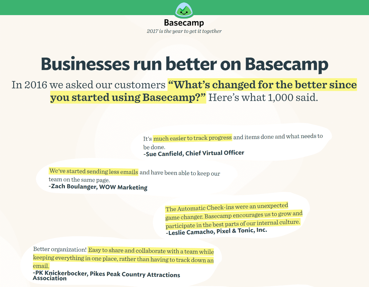 Conversion Rate optimization: favorite social proof examples comes from Basecamp