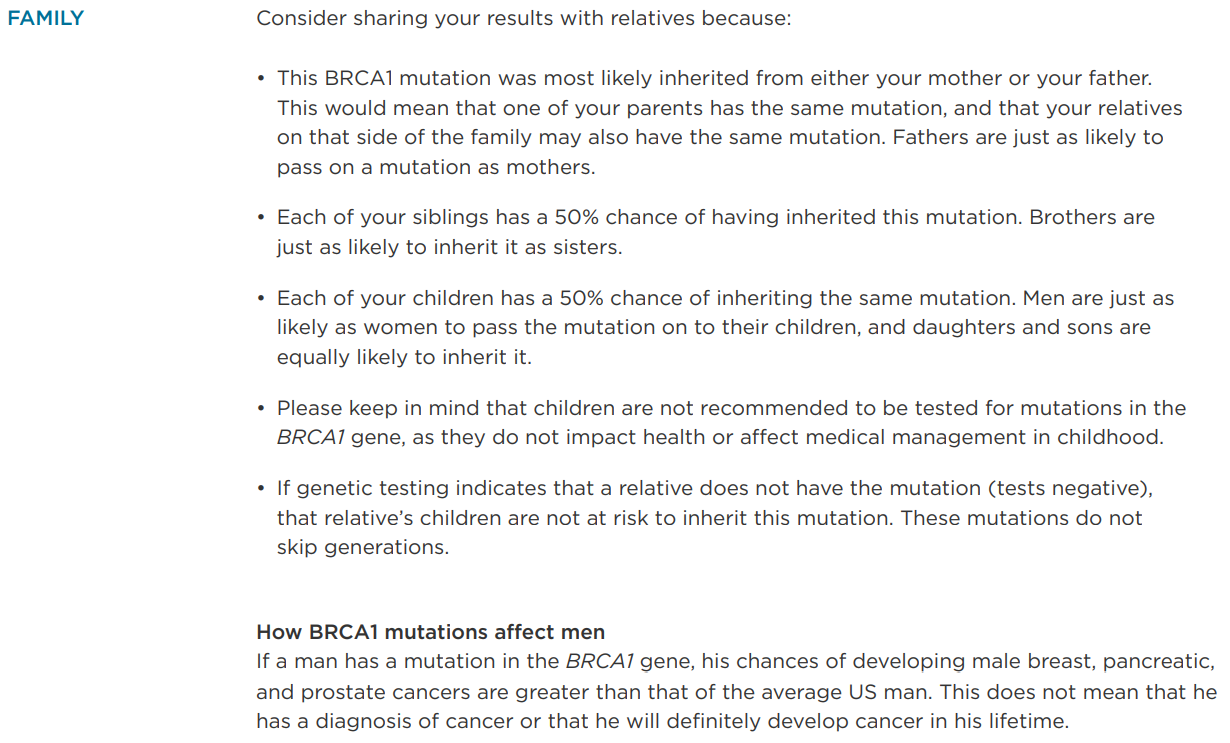A Color Genomics report describes how this mutation may affect a patient's family.