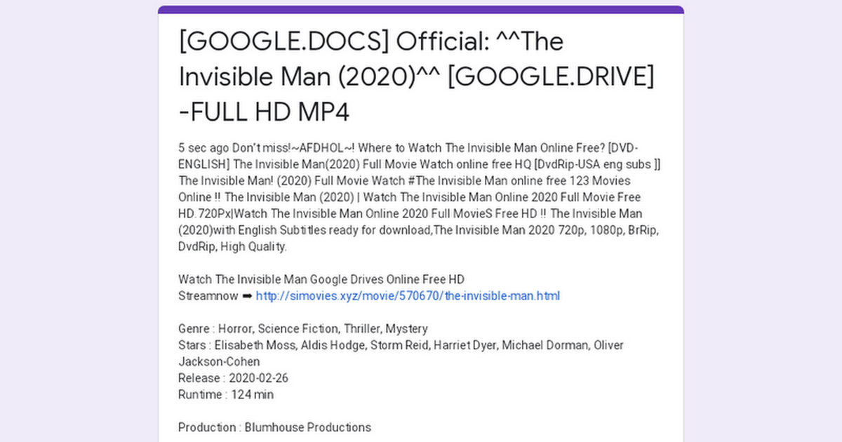 Google Docs Official The Invisible Man 2020 Google Drive Full Hd Mp4