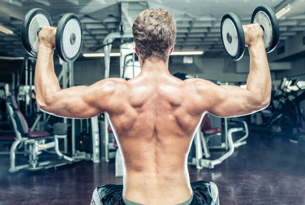 bodybuilder making workout training. lifting the wheigts. concept about gym, sport and people