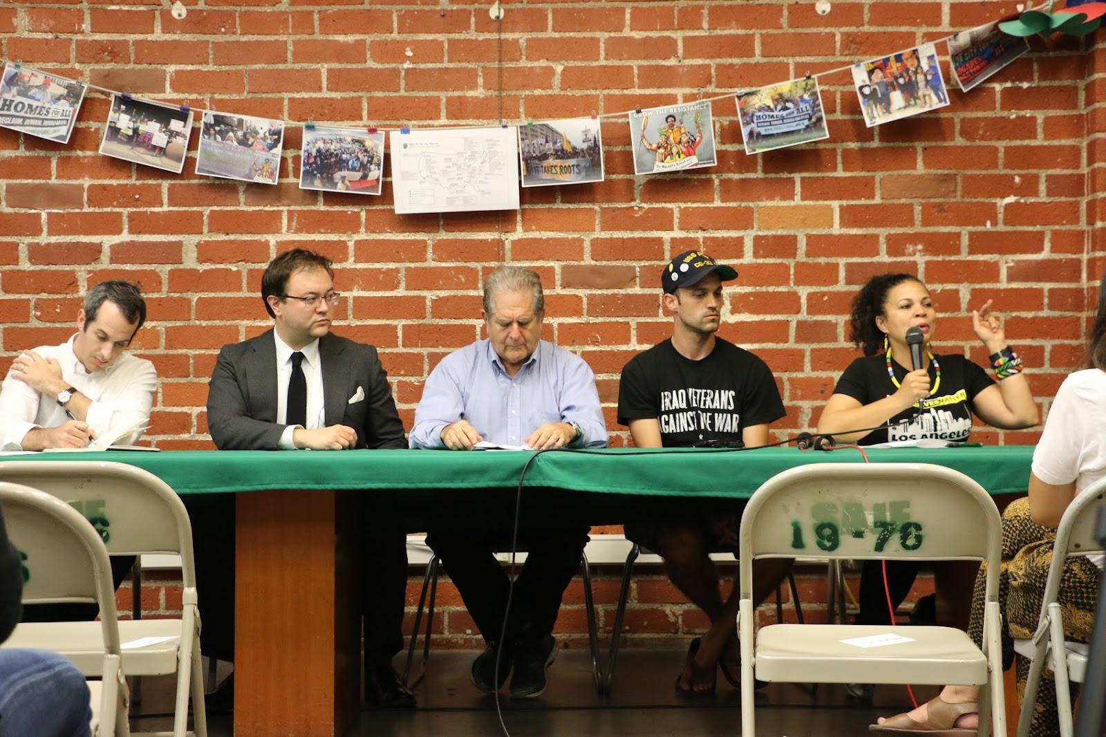Left to right: David Stein (UCLA), Ace Katana (Ground Game LA), Michael Novick (Anti-Racist Action), John Motter (DSA-LA, Iraq Veterans Against the War), Melina Abdullah (Black Lives Matter LA)