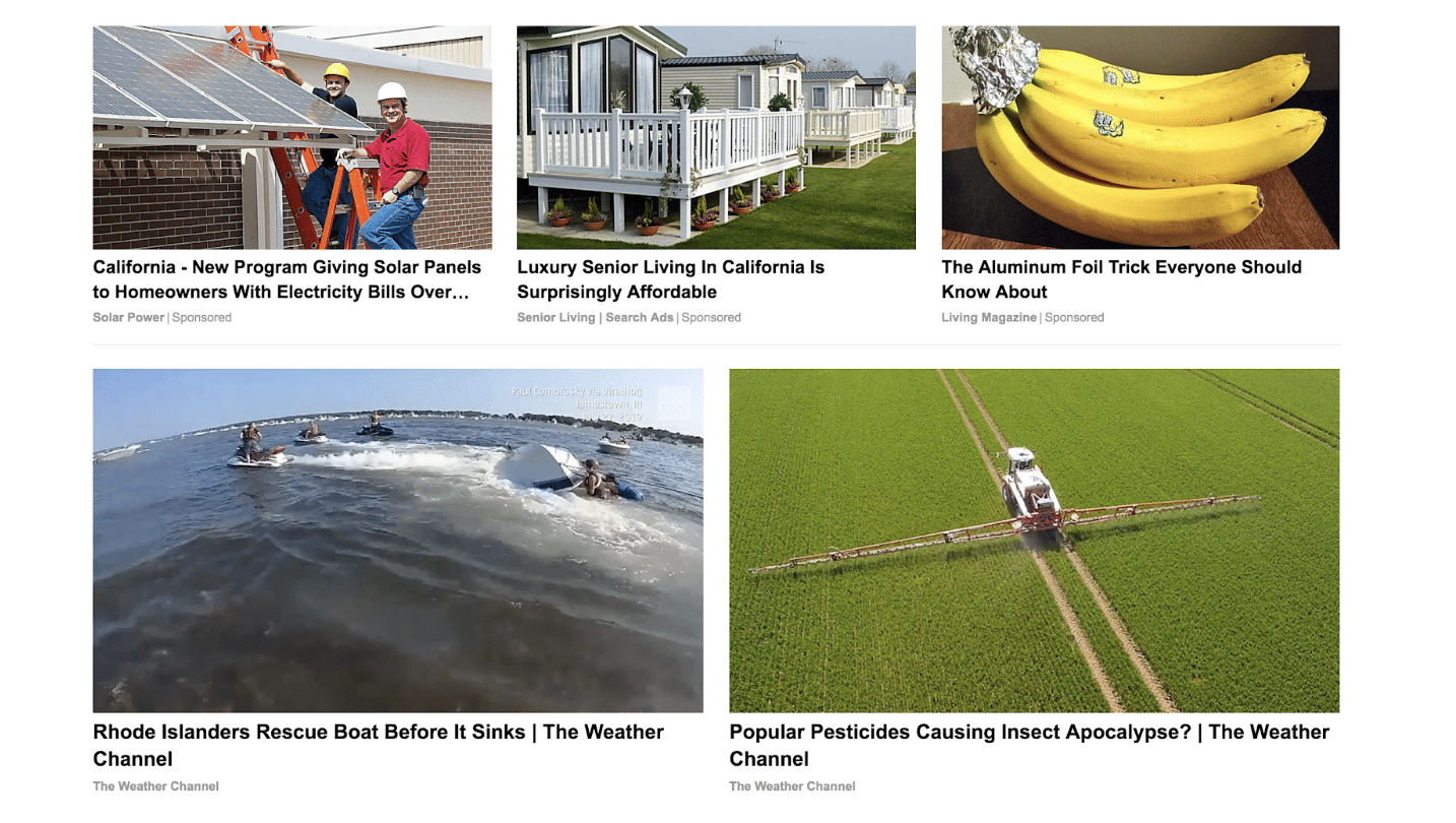 Content recommendation example - weather channel