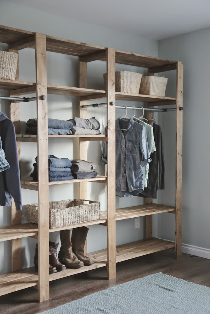 Wood Wardrobe Closet Plans ~ Ana white industrial style wood slat closet system with
