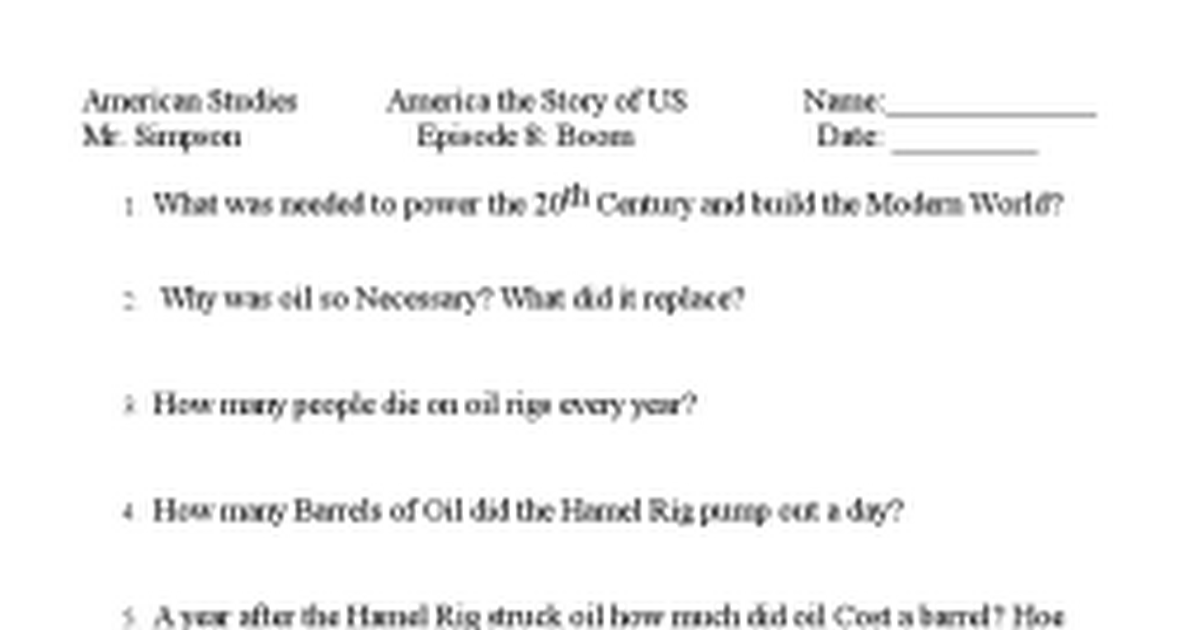 America the story of us Episode 8doc Google Docs – America the Story of Us Worksheets