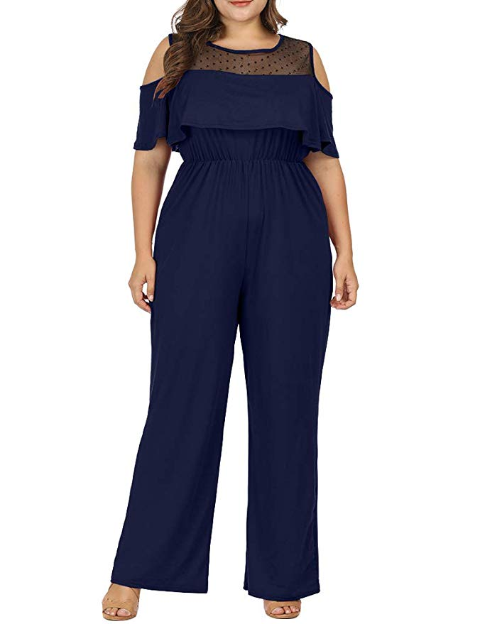 Allegrace Women Plus Size Cold Shoulder Lace Jumpsuit Rompers Flounce Sleeve Long Jumpsuits Dark Blue 1X