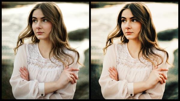 antes e depois da foto de uma mulher morena sendo que uma das fotos está sendo utilizado o filtro Sunburst do AirBrush