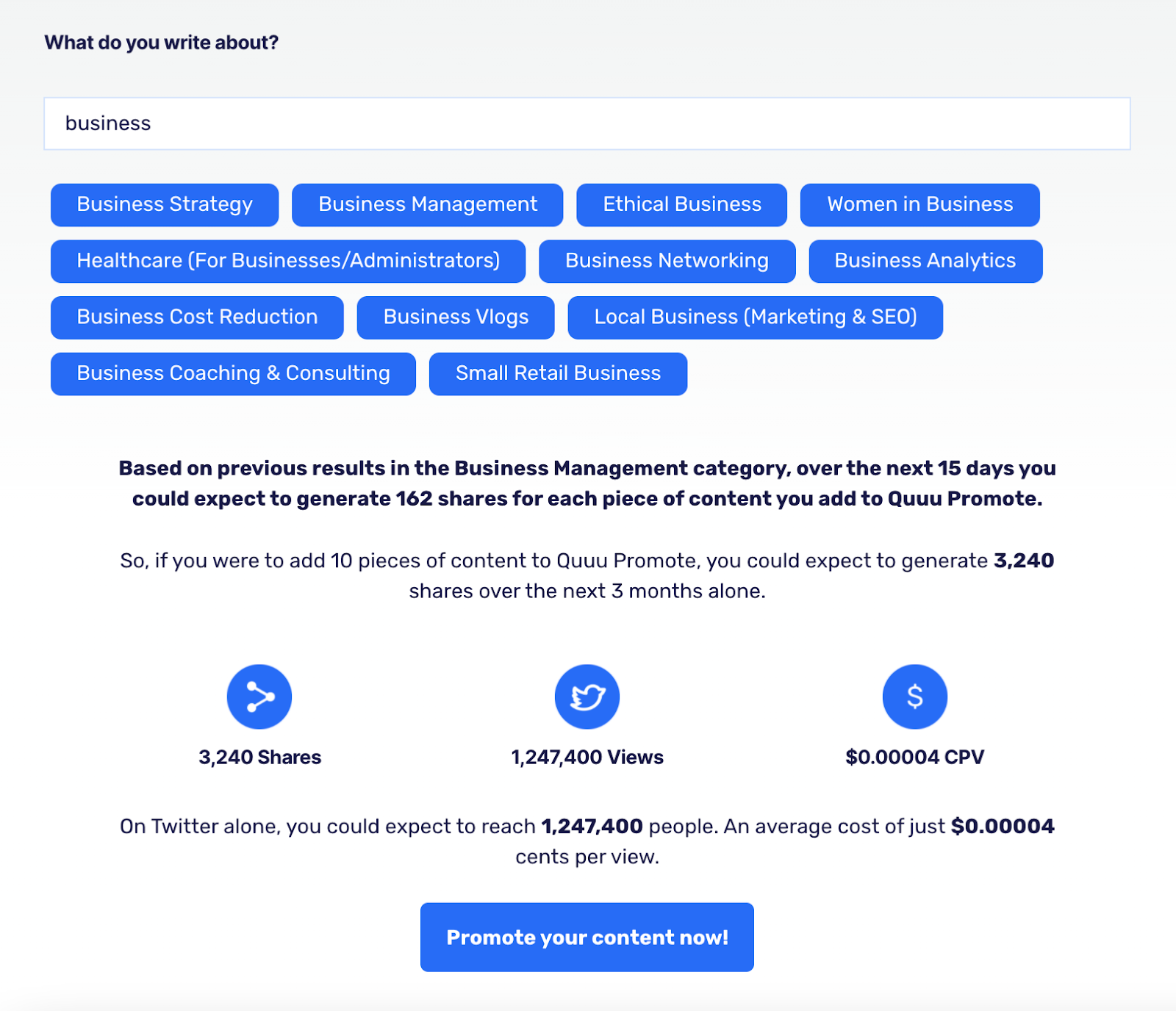 The shares calculator on content promotion tool Quuu Promote's website that shows how many shares you can get depending on the category.