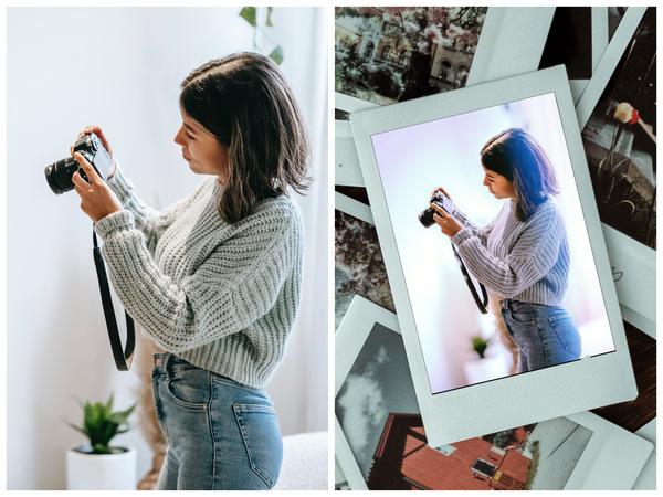 Montagem com 2 fotos da mesma mulher tirando uma foto mostrando o antes e depois da edição.