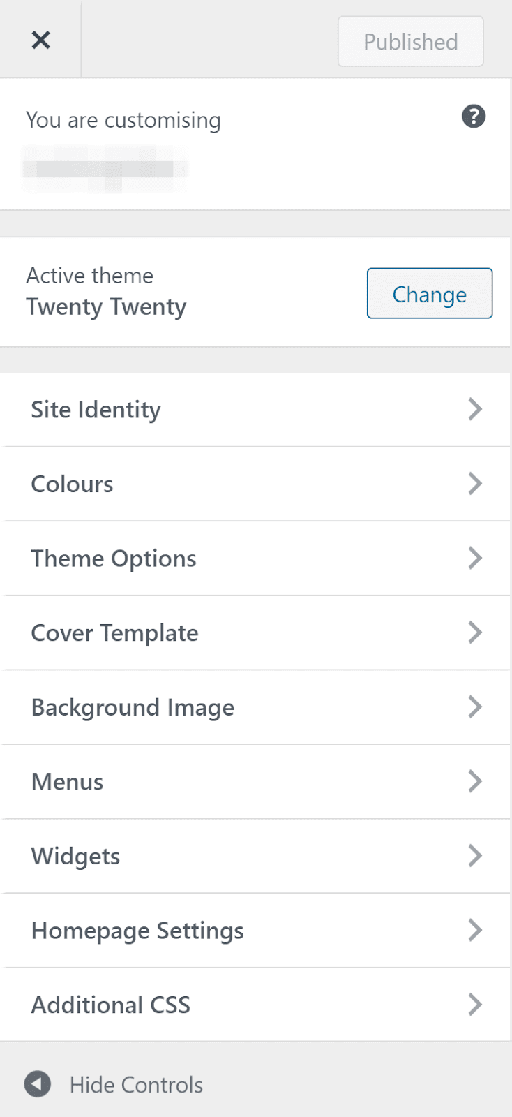 An image of the WordPress customization options on a default theme.