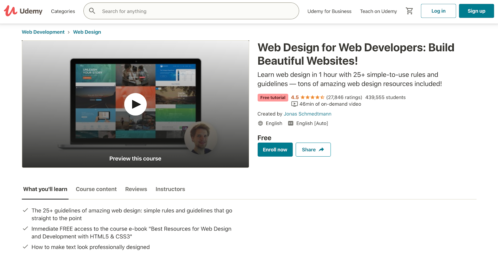 Udemy's web design course by Jonas Schmedtmann