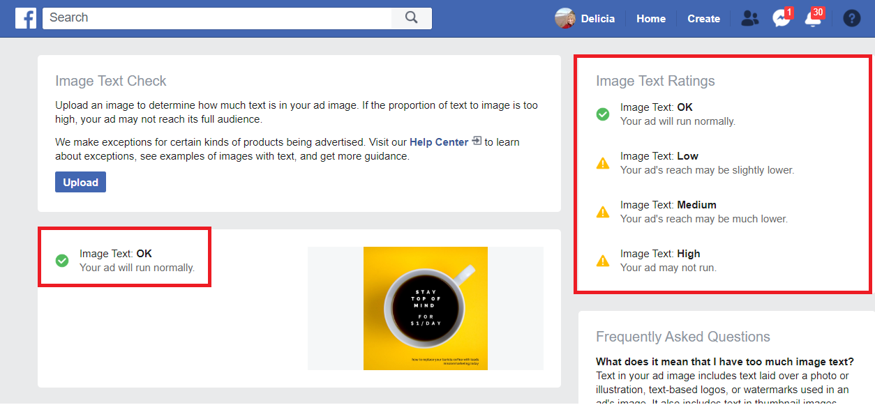 facebook image text check - top of mind awareness - facebook ads -Mission marketing today
