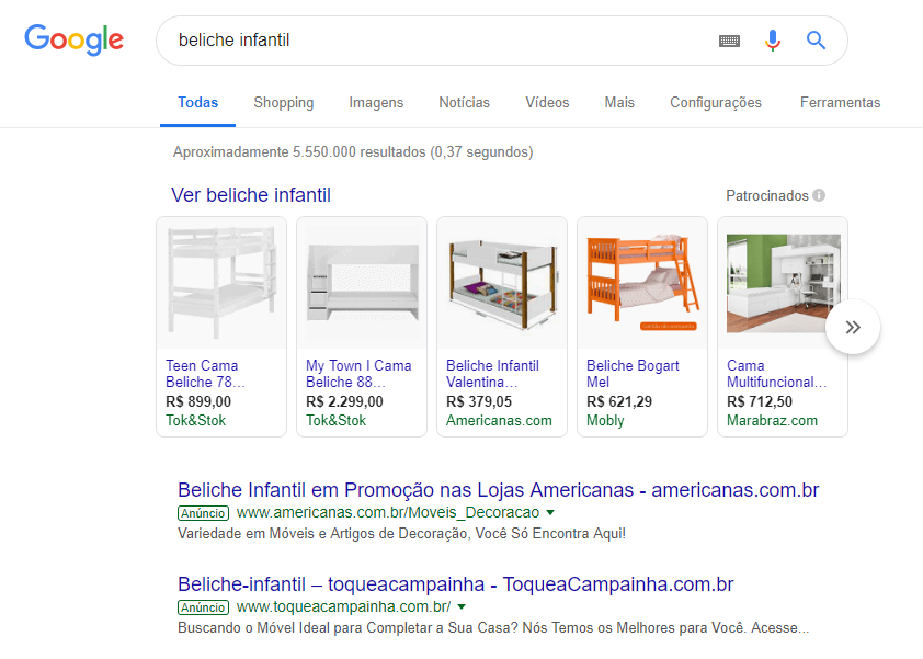 Google Shopping - Análise de Estrutura