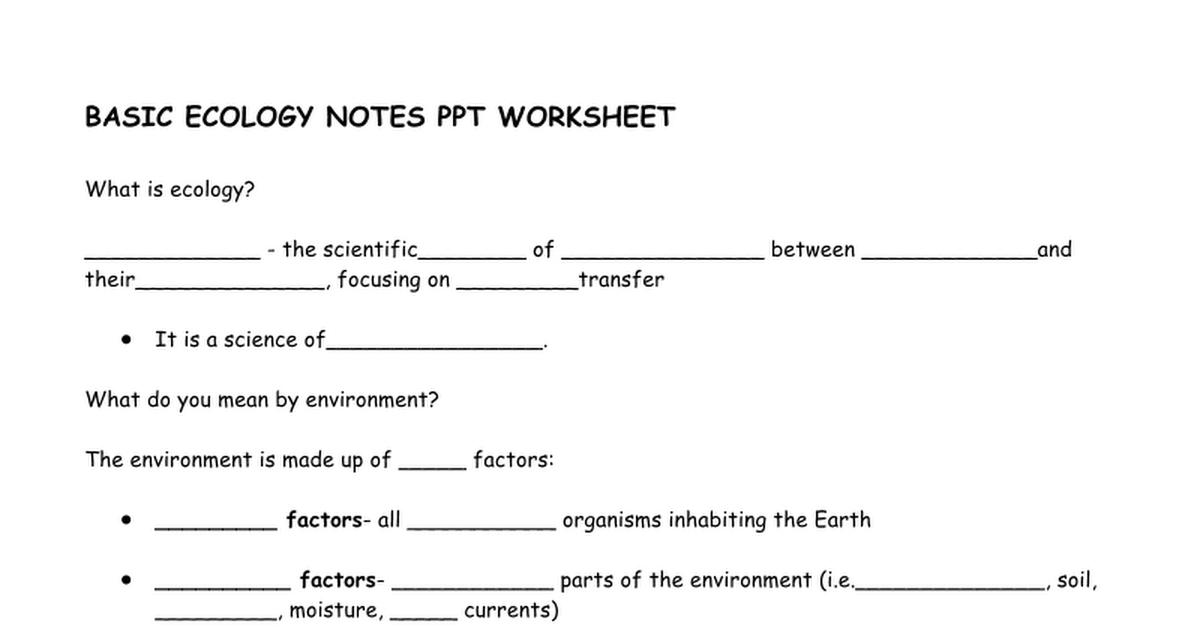 Basic Ecology Notes PPT Worksheet Google Docs – Symbiosis Worksheet