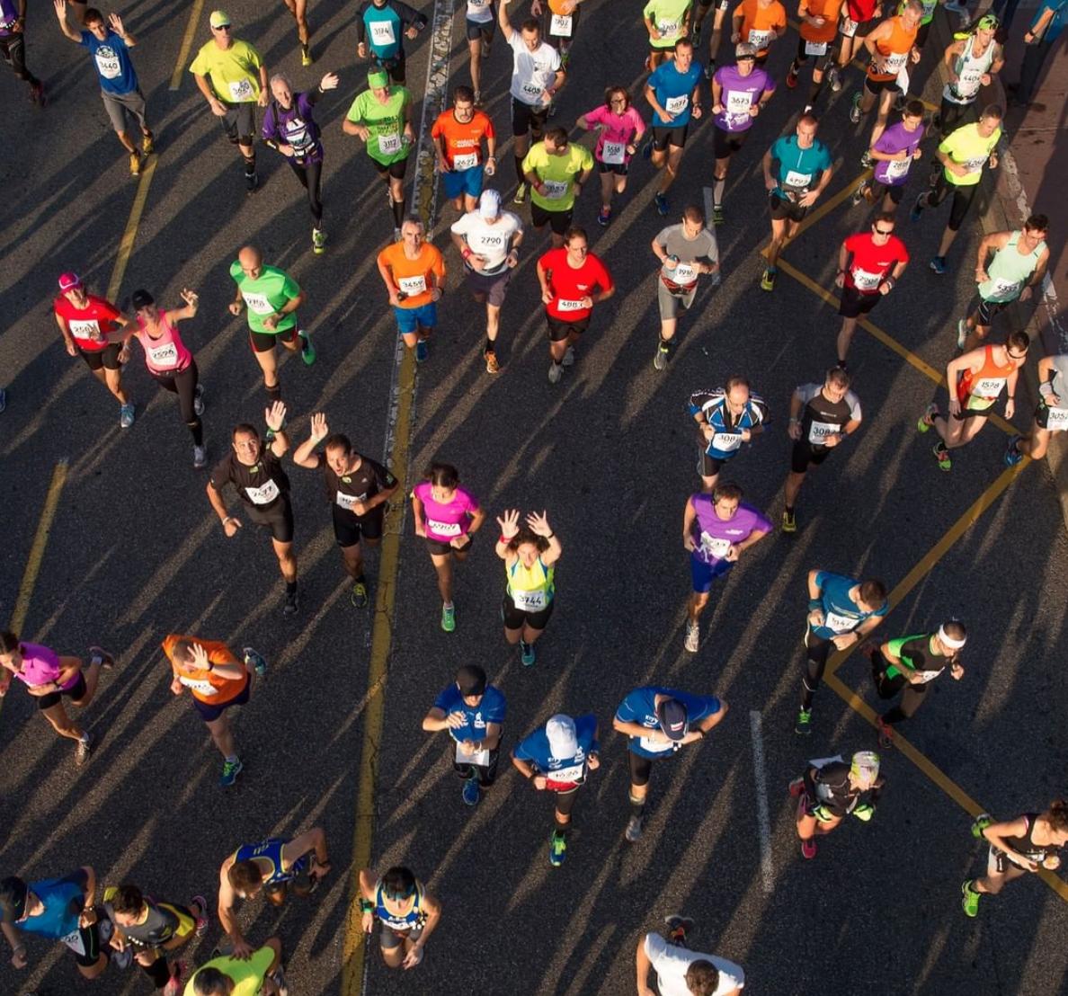 Toulouse course marathon foule ville rose