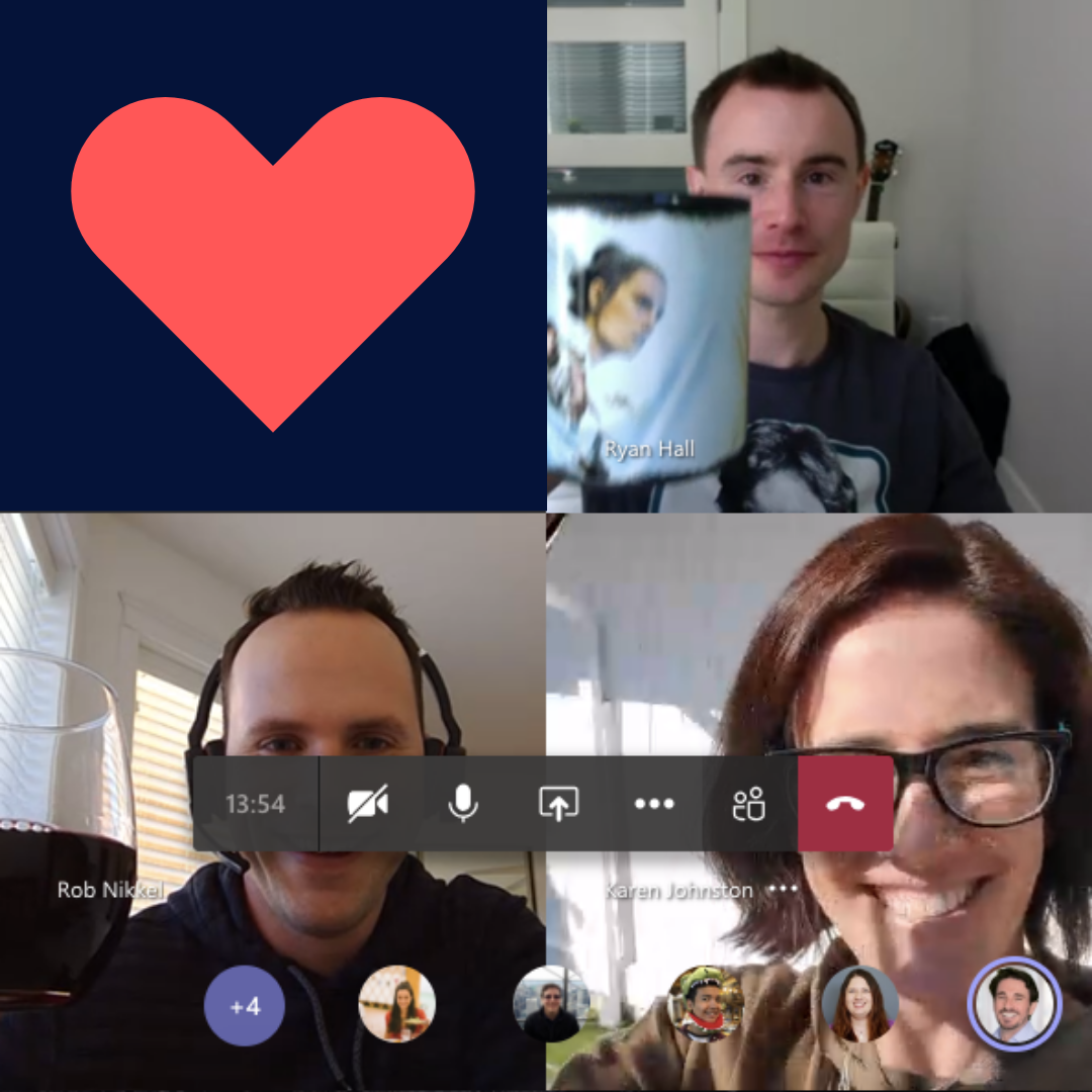 Video communication call with three people