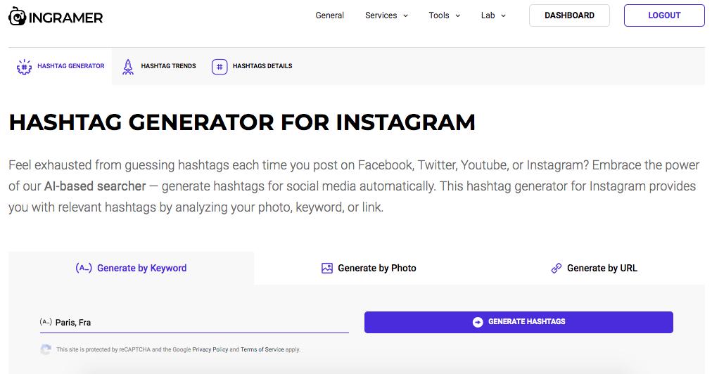 Ingramer Hashtag Generator Tool