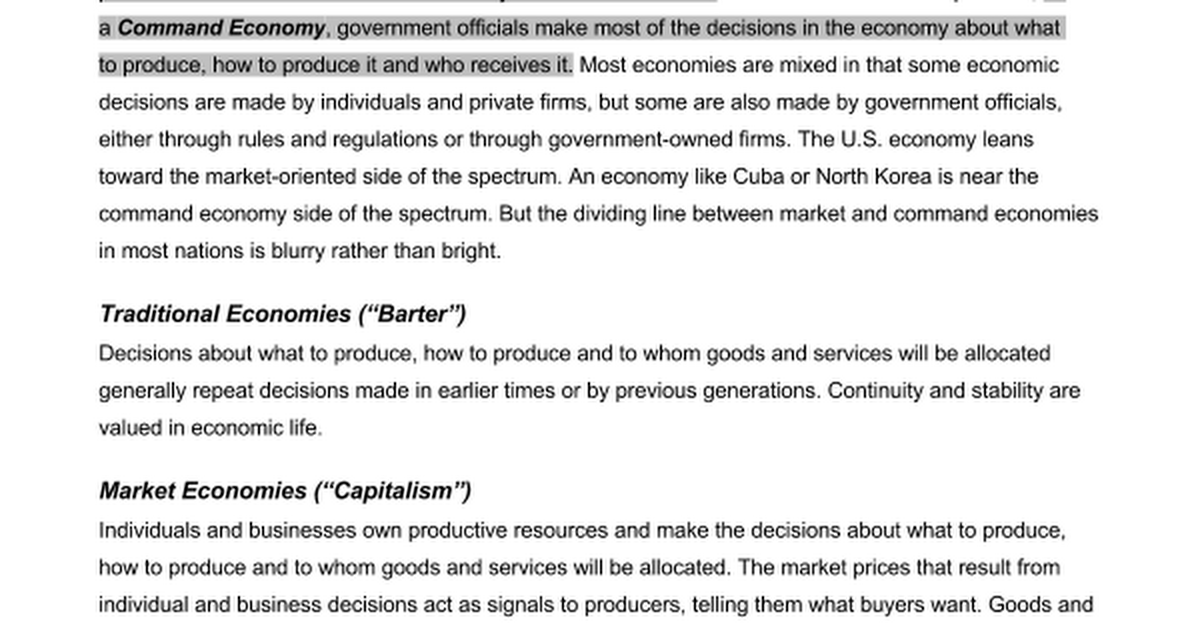 Economic Systems Who Makes The Decisionsc Google Docs