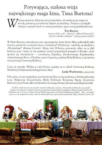 Tył ulotki filmu 'Alicja W Krainie Czarów'