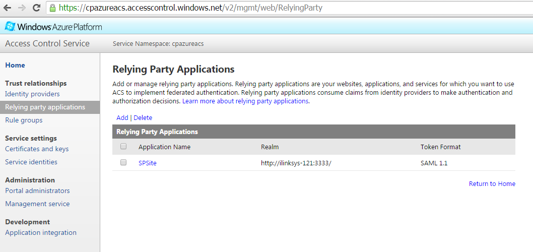 Azure ACS  Relying Party Applications